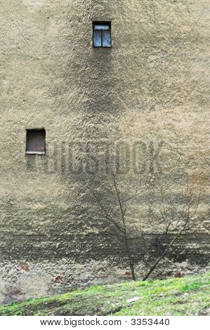 Corroded Wall Of Old Residential Building