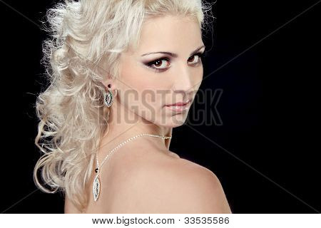 Blonde Hair Bride Woman With Evening Make-up. Jewelry And Beauty. Fashion Photo