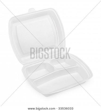 Empty White Styrofoam Meal Box
