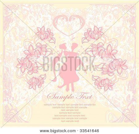 elegant wedding invitation with wedding couple , vector illustration
