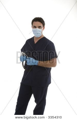 Male Model In Medical Scrubs