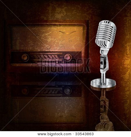 Abstract Background With Microphone And Radio