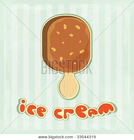 Ice Cream On Retro Background