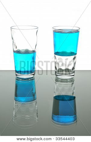 Two Glasses With Blue Liquid, Half Full, Half Empty