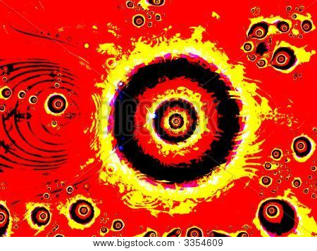 Firey Eye Fractal Design With Strong Circles