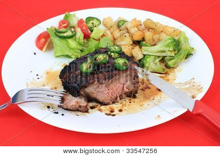 Eating Juicy Sirloin Steak