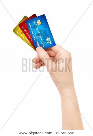 Hand Holding Pack Of Credit Card Isolated