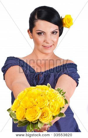 Attractive Woman Offering Yellow Roses