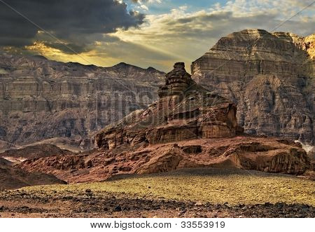 Geological formations and desert valley of Timna park, Israel
