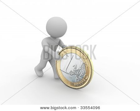 Grey Figure Rolling Euro Coin
