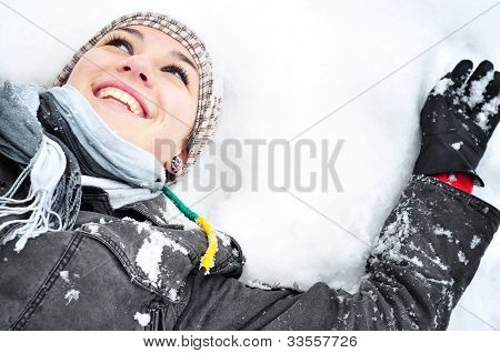 Happy woman in snow