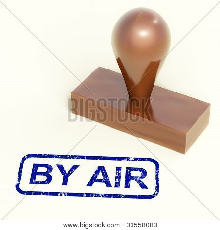 By Air Rubber Stamp Shows International Air Mail Delivery
