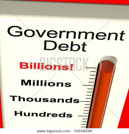 Government Debt Meter Showing Nation Owing Billions