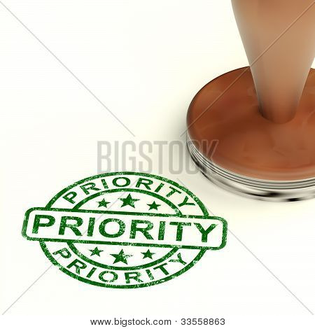 Priority Stamp Showing Rush And Urgent Services
