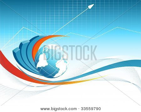 Blue Vector Background With Globe.