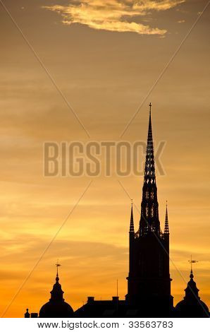 Stockholm Cityscape At Sunset