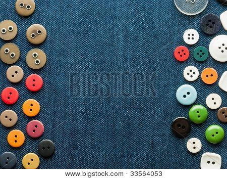 Closeup Blue Jeans Background With Buttons.
