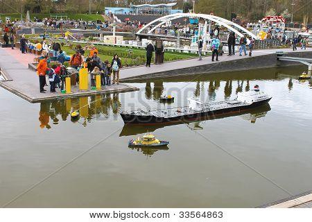 The Hague, Netherlands - April 7: Visiting Tourists Madurodam Exposition Updated April 7, 2012 In De