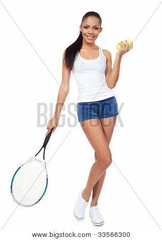 Retrato do jogador de ténis desportivo menina