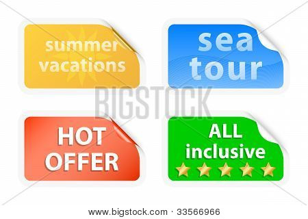Summer Vacations Labels. Vector Illustration