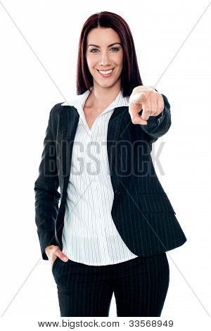 Smiling Corporate Lady Pointing At You