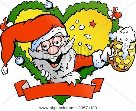 Hand-drawn Vector Illustration Of An Drunk Santa