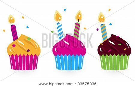 Birthday Cakes Collection Isolated On White