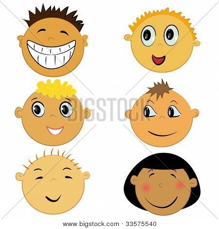 children face icons. expression set