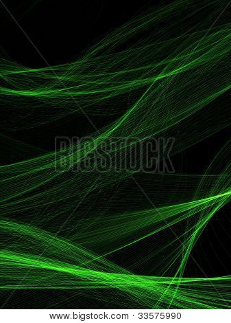 set of being shone greenish threads on black background