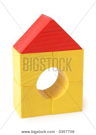 Toy House From Wooden Cubes