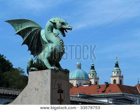 Green Dragon In Capital City Ljubljana, Slovenia