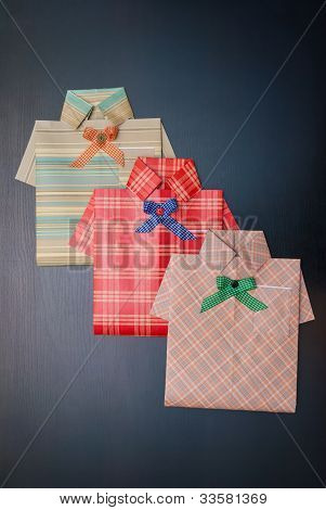 Gift Wrap In The Form Of A Shirt.