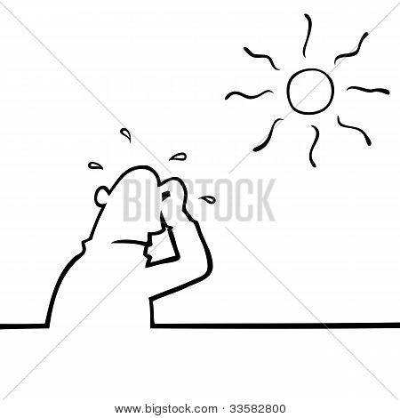 Sweating Man In Hot Weather