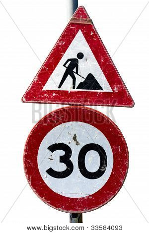 Road Works And Speed Limit Sign