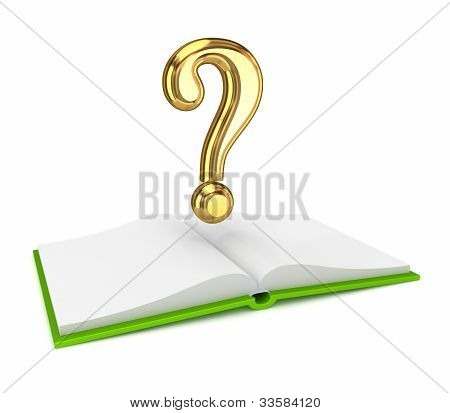 Opened book and golden query symbol.
