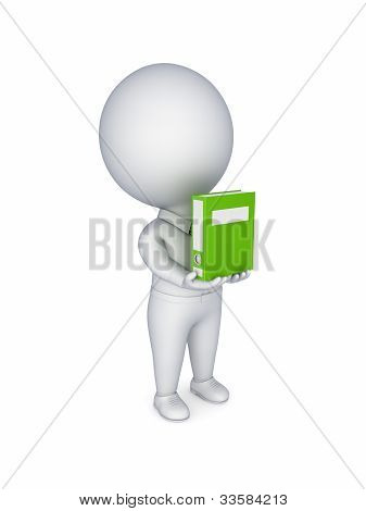 3d small person with a green folder in hands.