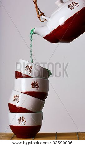 tower of tea cups