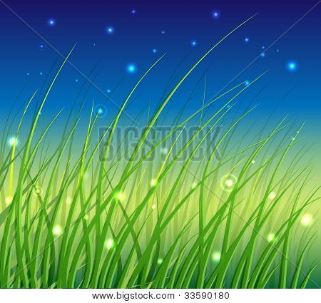 Abstract Floral Vector Background with Grass