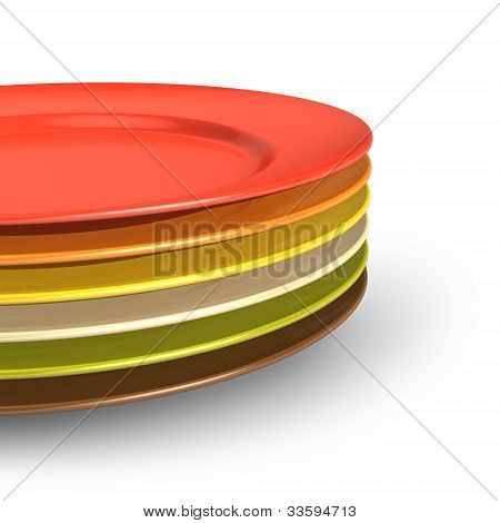 Set of color porcelain plates