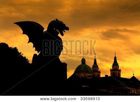Sunset scene of Green Dragon In Capital City Ljubljana, Slovenia