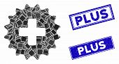 Mosaic Plus Stamp Pictogram And Rectangular Seal Stamps. Flat Vector Plus Stamp Mosaic Pictogram Of  poster
