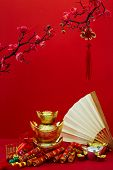 Lunar New Year And Chinese New Year  Gold Ingot Symbols Of Wealth And Prosperity With Cherry Blossom poster