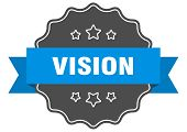 Vision Blue Label. Vision Isolated Seal. Vision poster