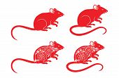 Set Of Rats For Sign. Red Rat. 2020. Rat Zodiac. Red Mouse Silhouette. Rat Poses. Rat Cartoon New Ye poster