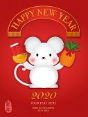 2020 Happy Chinese New Year Of Cartoon Cute Rat Standing Holding Golden Ingot Red Envelope And Pinea poster