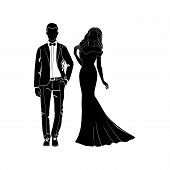 Fashionable Girl And Guy Vector. Fashion. Man And Woman Silhouette Vector. Fashionable Young Couple. poster