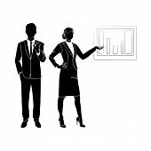 Business Woman Show Graph Chart Icon. Woman Show Graph Chart Vector Icon For Web Design Isolated On  poster