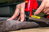Manufacture Of Upholstered Furniture, Furniture Upholstery With A Pneumatic Stapler poster