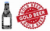 Mosaic Beer Bottle And Grunge Stamp Seal With Gold Beer Text. Mosaic Vector Is Composed With Beer Bo poster