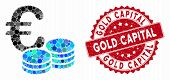 Mosaic Euro Coin Stacks And Rubber Stamp Seal With Gold Capital Phrase. Mosaic Vector Is Designed Wi poster